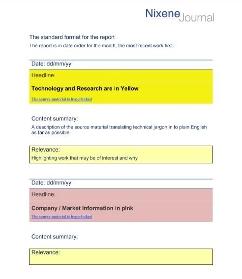 Standard Nixene Journal Format including personalization options