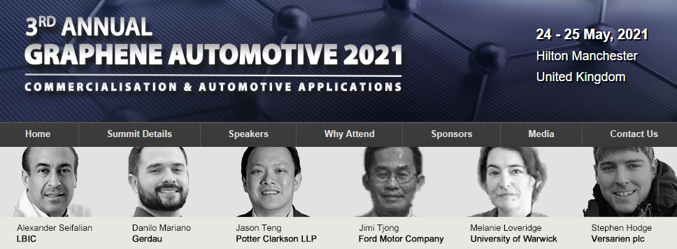 Graphene Automotive 2021 conference banner with speaker photos